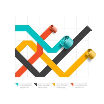 Spiral business line chart, graph template, infographics element